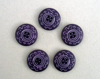 Purple Buttons , 25 mm  Buttons  , Purple And White Buttons , One Inch Buttons  , Sewing And Needlecraft Supplies