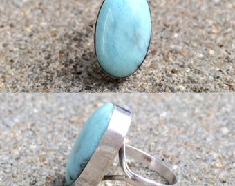 vintage sterling silver larimar solitaire ring size 5.25