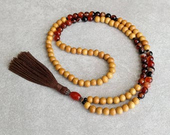 Nangka Mala Beads with Agate - Tibetan Prayer Beads - Buddhist Rosary - Meditation Necklace - Item # 909