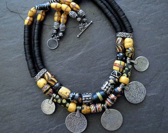 Double Strand African Trade Bead Necklace with Silver Coin Pendants
