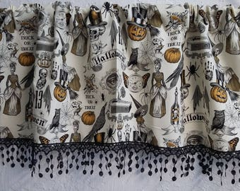 Alexander Henry Halloween valance with web lace trim