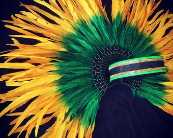 """Green and Gold Coque rooster tail feathers 16-18"""" long"""