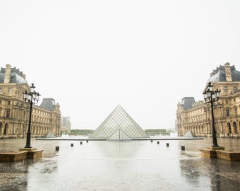 Paris Photography Print - Louvre Pyramid in the Rain - Paris Wall Art - Neutral Photography Print