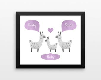 LLAMA Alpaca Nursery Art, Kids Baby Room Decor, Animal Nursery Decor, Personalized Nursery Wall Art, Baby Shower Gift, Nursery Print