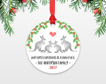 New Baby Christmas Ornament Christmas Family Ornament New Parents Our First Christmas as a Family of Four 4 Kangaroo Personalized Ornament