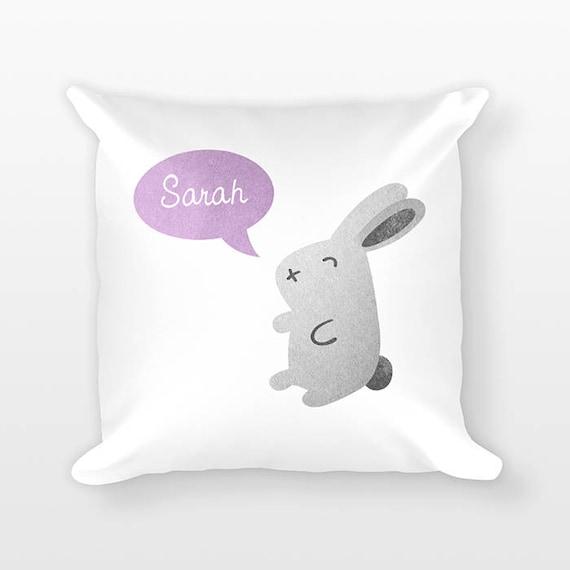 Personalized Pillow, Rabbit Bunny Pillow, Custom Name Pillow, Gift for Kids Gift, Kids Room Decor, Animal Pillow, Decorative Throw Pillow