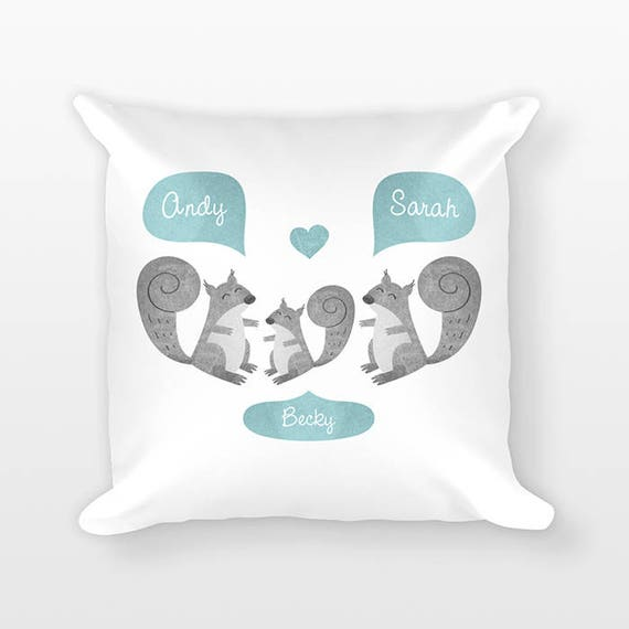 Squirrel Nursery Pillow Woodland Nursery Decor, Personalized Baby Gift, Shower Gift, Pillow for Kids Room Decor, Animal Nursery Throw Pillow