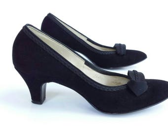 Vintage High Heels 50s Womens size 5 1/2 5.5 Black Pumps Suede Leather Rockabilly Swing Designer Vitality Shoes Braided