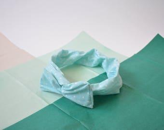 Sea foam green bow wire headband with white polka dots