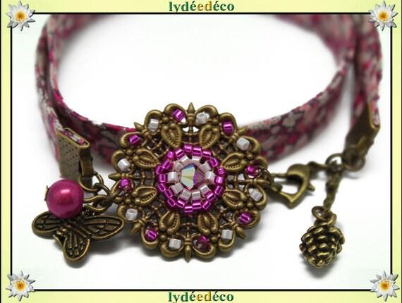 Retro print liberty pink flower Fuchsia beads white Japanese Glass Butterfly brass bronze