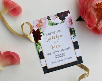 Burgundy, Peach and Navy Blue Save the Dates : DCo Lovenotes