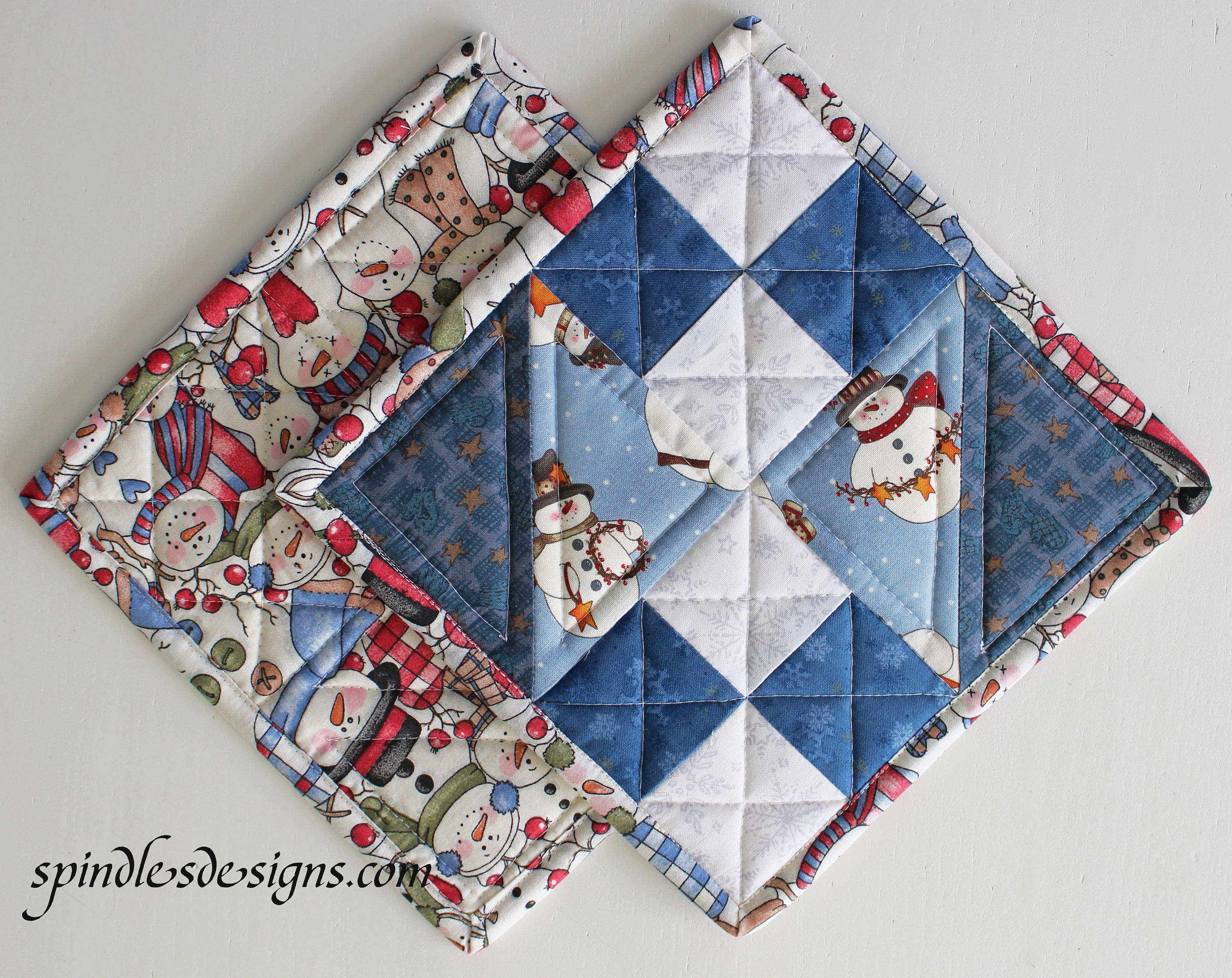 Christmas/Snowman Potholders, Christmas/ Snowman Hot Pads, Quilted ... : quilted hot pads - Adamdwight.com
