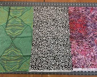 Australian Aboriginal Print Fabric--REMNANT PIECES--Assort Prints & Assorted Color--2 Irregular cut pieces--over 1 full yard