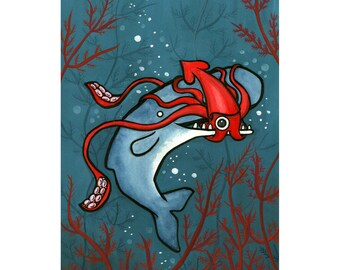 The Squid and The Whale - squid art - whale art-  Watercolor - Museum of Natural History