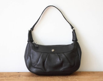 Vintage ETIENNE AIGNER Black Leather Hobo Handbag / Black Pebble Leather Shoulder Bag / Etienne Aigner Purse 040917