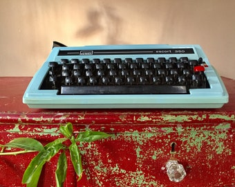 Vintage Turquoise Typewriter, Red Tab Key, Black Keys, 1960s 1970s, Montgomery Ward, Carrying Case, Prop Display, Secretary, Student, Aqua