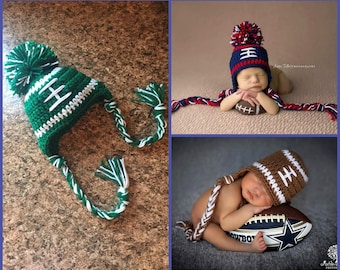 Michigan Sate Baby Boy Hat FOOTBALL Newborn Baby Boy Crochet Football Hat With Ear Flaps 0 3 6 12 months New England Patriots Ohio State
