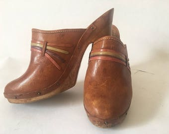 Vintage Brown Leather High High Heeled Clogs Shoes Made Brazil BOHO 70'S Woodworks Desert Glam Wood Festival Holiday