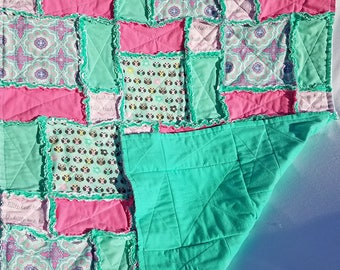 Owls Baby Rag Quilt, Aqua and Pink, Owls and Paisley, Baby Girl Rag Quilt
