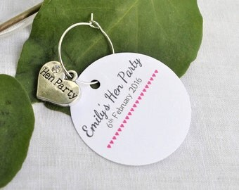 10 Personalised Hen Party Name Cards with Silver Hen Party Heart Charms- Hen Party Ideas