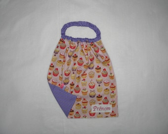 Personalized towel, maternal towel, little cupcakes on a background pink peas Parma violet