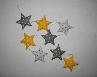 Garland grey/yellow/white stars, vertical Garland, wall decor baby, child's room