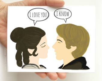 I love you I know card - Funny Valentine Card - Valentine Card Funny - Valentines for him - valentines for her