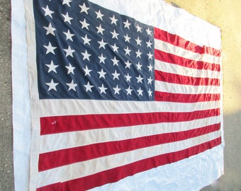 Retired Vintage US 48 Star Flag - Flag With Great History - Brass Grommets - All Stitched Linen - Shabby Condition - Large