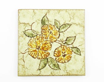 Ceramic Tile Trivet - 'Ragno, Sinterizzato' - Kitchen - Buffet - Party - Decorative Ceramic Trivet - Made in Italy- Mix and Match - Flowers
