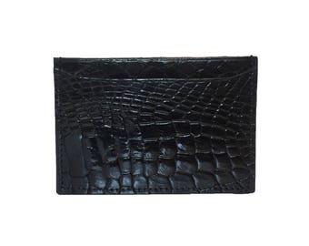Black Alligator Crocodile Cardholder