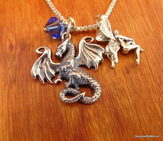 Sterling silver dragon necklace, fairy necklace, personalized jewelry, mythical jewelry