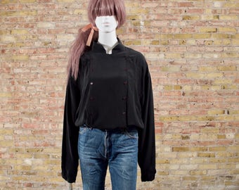 oversized silk top / black silk blouse / minimalist / oversized silk / oversized blouse / full sleeves / billowy top / button blouse / large
