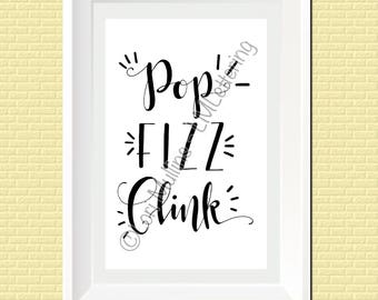 8x10 Wedding Sign - Downloadable - Printable - Digital Art Print - Hand Lettered - Champagne Toast Sign