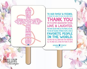 Personalized Cross | A Cord of Three Strands Wedding Ceremony Program Fan - Digital File