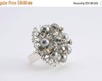 25% OFF SALE Vintage Silver Filigree and Pearl Ring, Adjustable Ring, Upcycled Ring