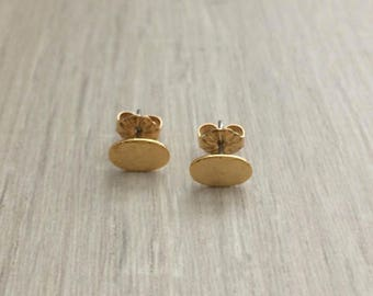 Gold Oval Earrings, Gold Earring, Dainty Earring, stud Earring
