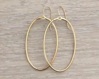 Oval Hoop Earring, Gold Hoops, Gold Earring, Chandelier Earring