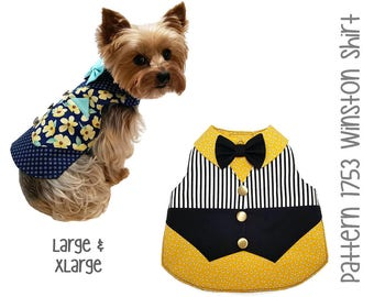 Winston Dog Shirt Pattern 1753 * Large & XLarge * Dog Clothes Sewing Pattern * Dog Vest Pattern * Dog Shirt Pattern * Dog Bow Tie * Dog Suit