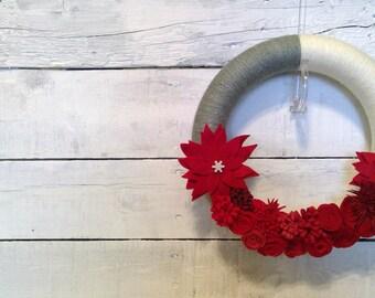Christmas Wreath | Christmas Indoor Wreath | Holiday Wreath | Yarn Wrapped Christmas Wreath | Felt Flower Wreath
