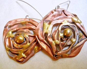 Mixed Metal Modernist Earrings, Artisan, Unique Sculptural Design, Vintage
