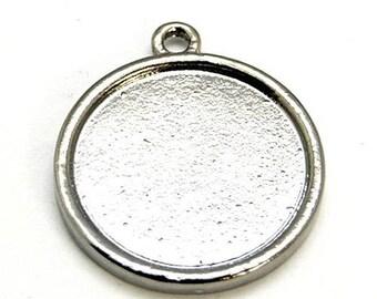 10 metal 22mm round cabochon, gun metal, pendants, recto / verso