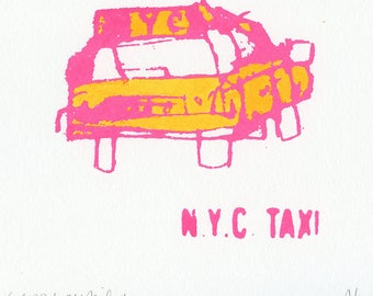 NYC TAXI PRINT, Original Watercolor and screenprint, New York Taxi Screen Print, Neon Pink & Orange, Signed New York Wall Art, Hand Painted