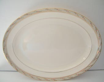Pope Gosser LaBelle Platter, Vintage Mid Century Turkey Platter or large chop plate with Pink Roses Band on Rim, light crazing, see photos