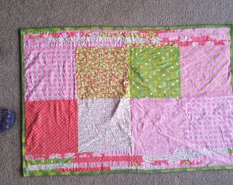 Pink and Green Baby Quilt - Soft Flannel and Corduroy
