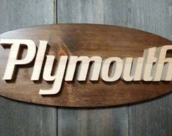 1970 Plymouth Emblem Oval Wall Plaque-Unique scroll saw automotive art created from wood for your garage, shop or man cave.