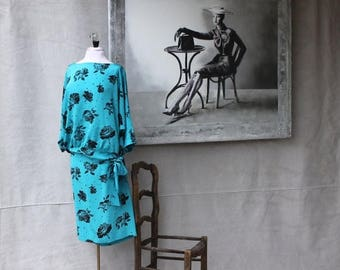 Spectacular Sale 25% off Beautiful Blue Aqua Turquoise & Black Rose Floral Print two Piece Bat wing Sleeve Dress size 12 by Iris O Connor Ca