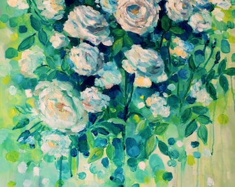 """Botanical wall art- original-floral painting-wall art- floral wall art-flower art-floral-floral painting on canvas-16""""x20""""-floral-canvas"""