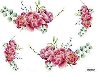 VinTaGe XL TRiPLe PeoNY SWaGs SHaBbY DeCaLs ~FuRNiTuRe SiZe~