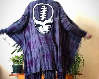 One of a kind handfelted Steal Yor Face on upcycled tie dye sweater