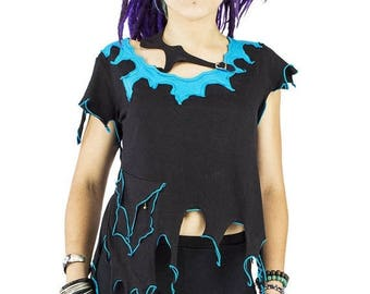 ON SALE pixie tapered top, asymetrical cut tank, cyber fairy top, burning man alternative clothes, destroyed open back elf tank, psy trance